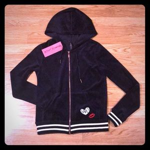 Betsey Johnson NWT Velour Patched Varsity Hoodie